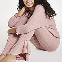 Pink rib loungewear trousers