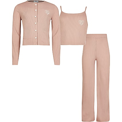 Pink ribbed cardigan wide leg trouser outfit