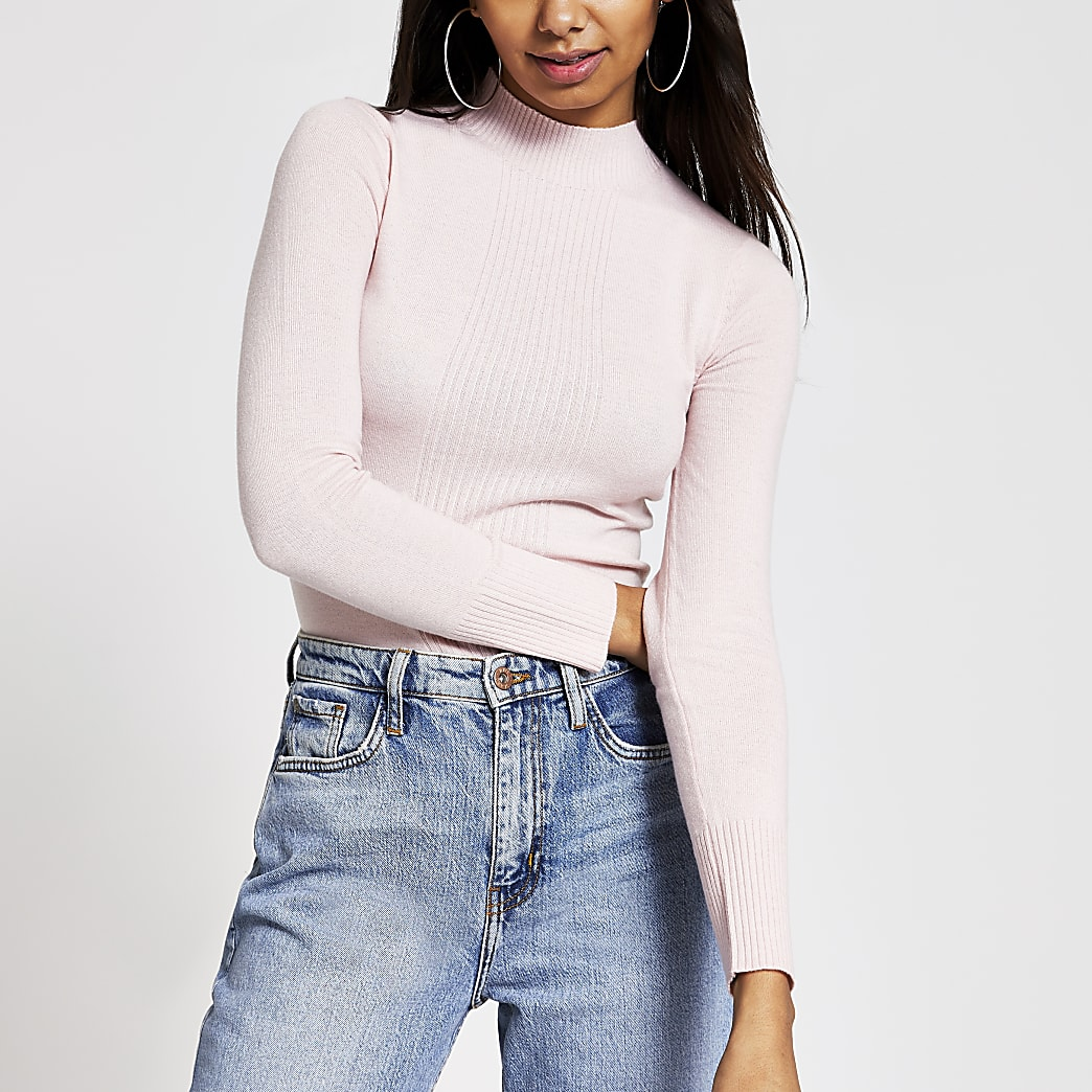 Pink ribbed front turtle neck top