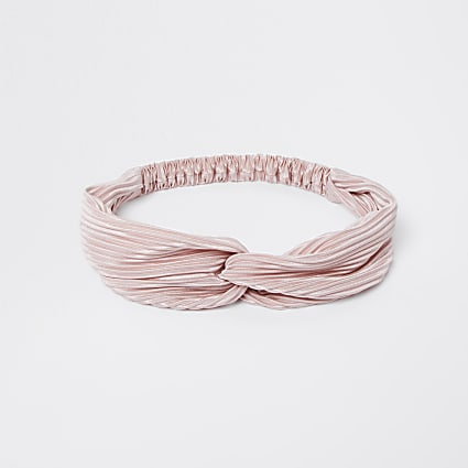 Pink ribbed soft knot head band