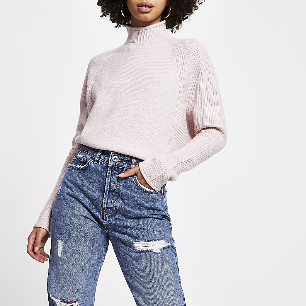 Pink ribbed turtle neck jumper