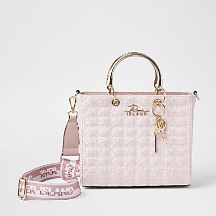 Pink 'RIR' Jacquard tote bag