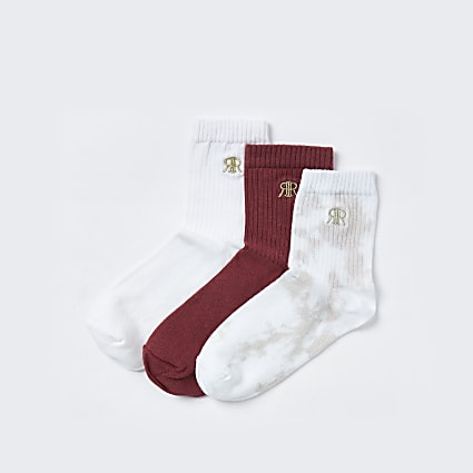 Pink 'RIR' lounge tie dye socks 3 pack