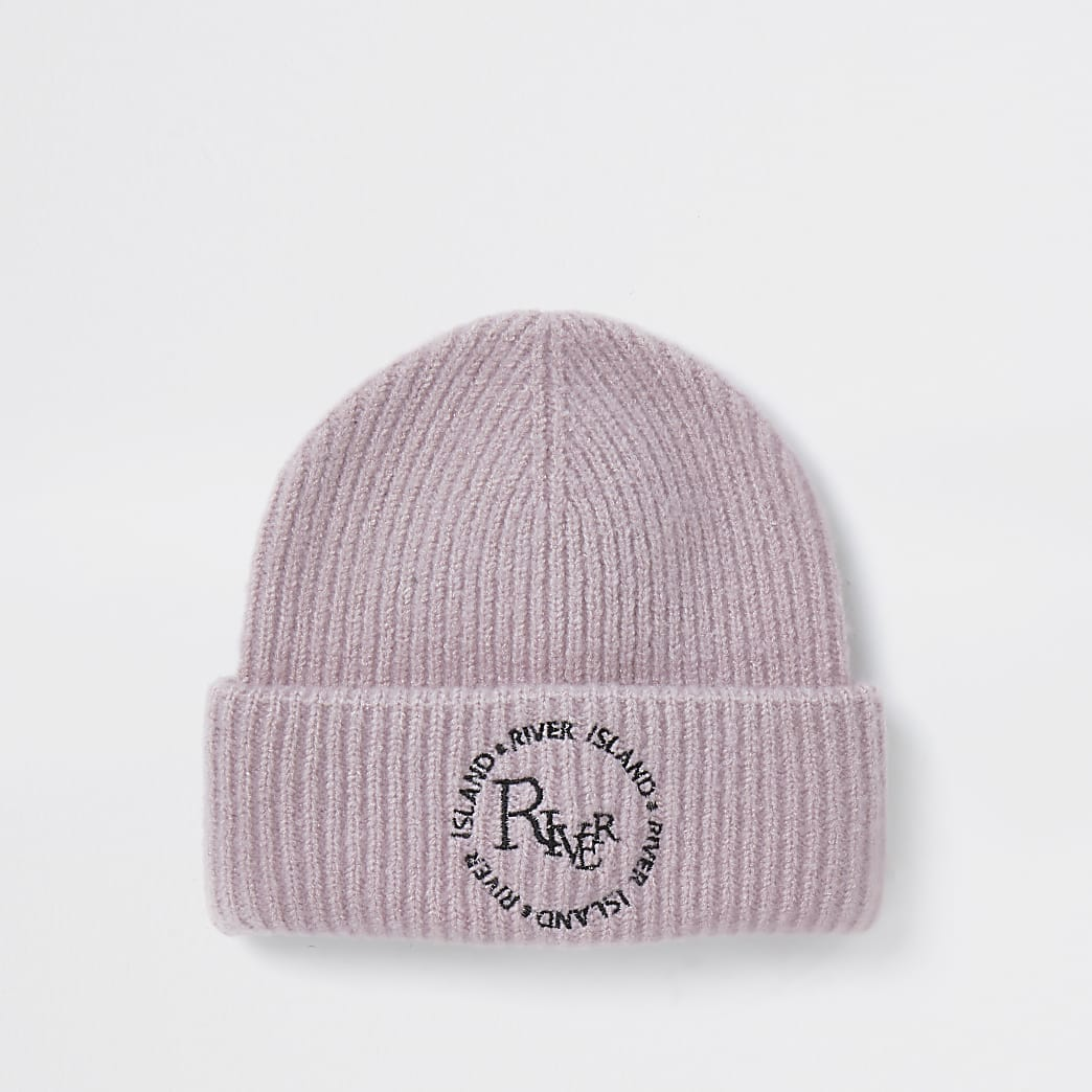 Pink 'River' embroidered soft beanie hat