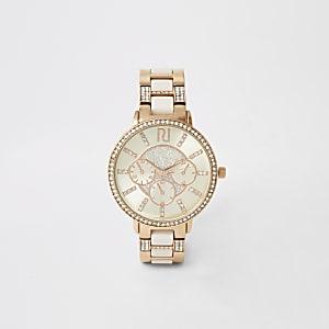 Rosa Armbanduhr mit Strassverzierung