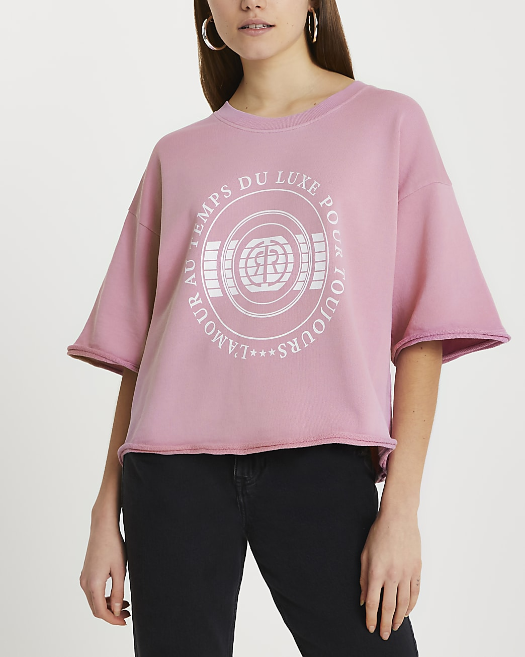 Pink 'RR' boxy short sleeve sweatshirt