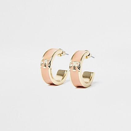 Pink RR hoop earrings