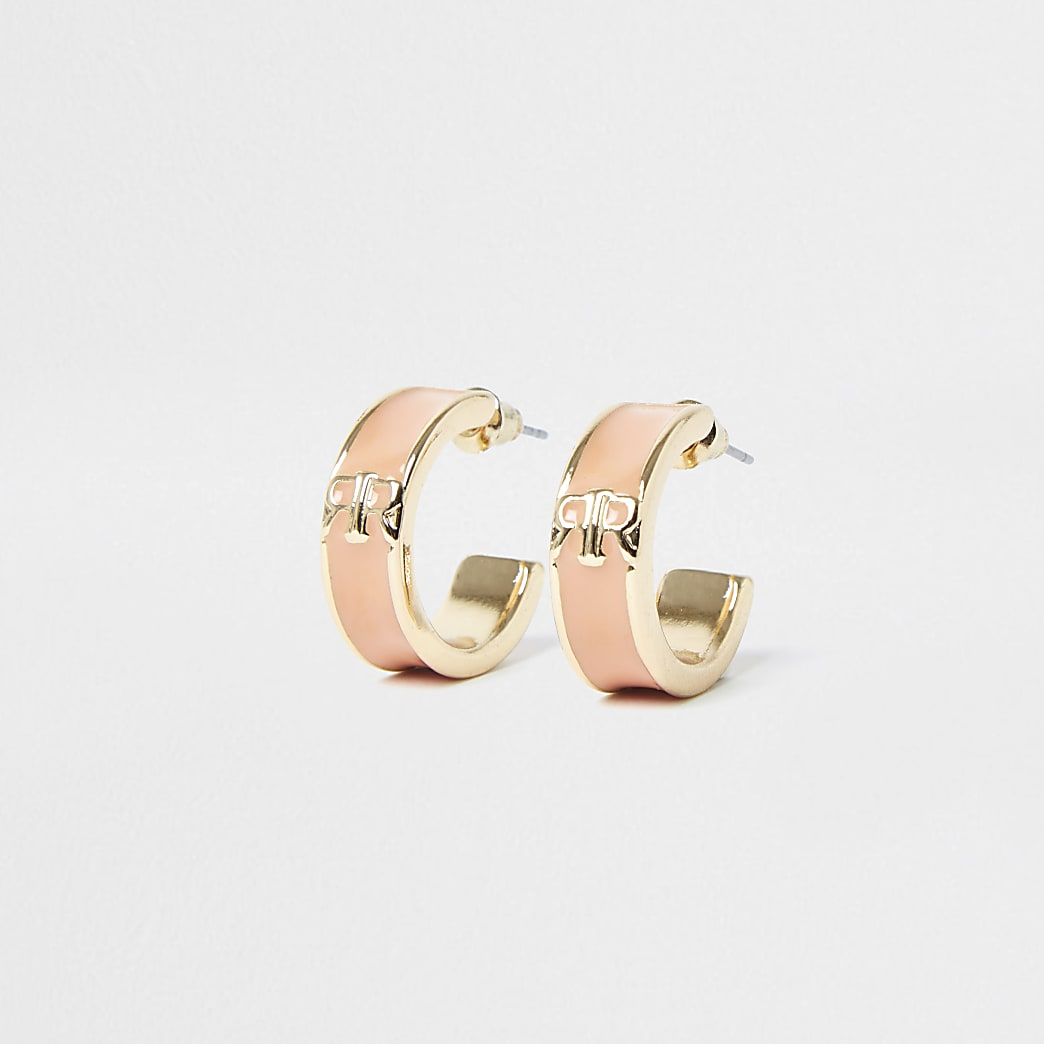 Pink RR hoop earrings