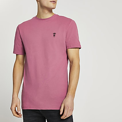Pink 'RR' palm trees logo slim fit t-shirt