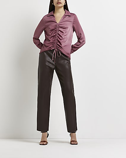 Pink ruched collared blouse