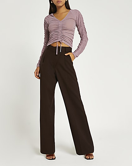 Pink ruched cropped top