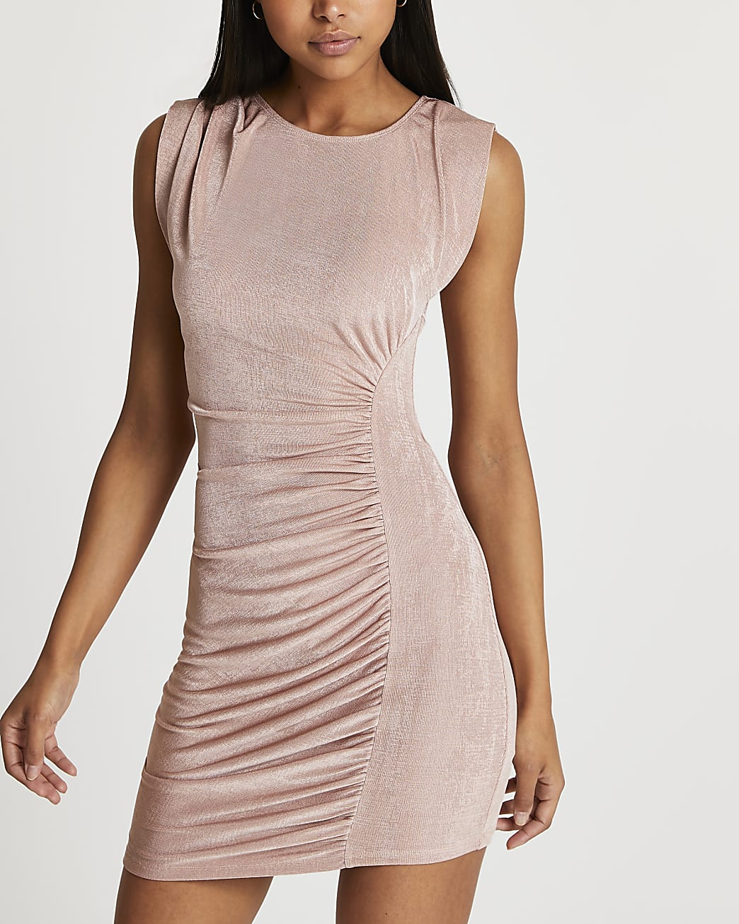 Pink ruched front sleeveless mini dress