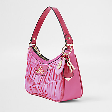 Pink ruched RI shoulder bag