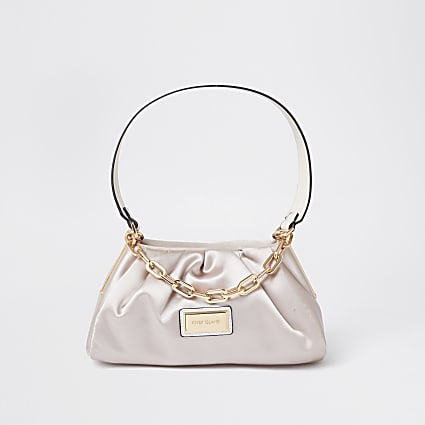 Pink ruched satin shoulder bag