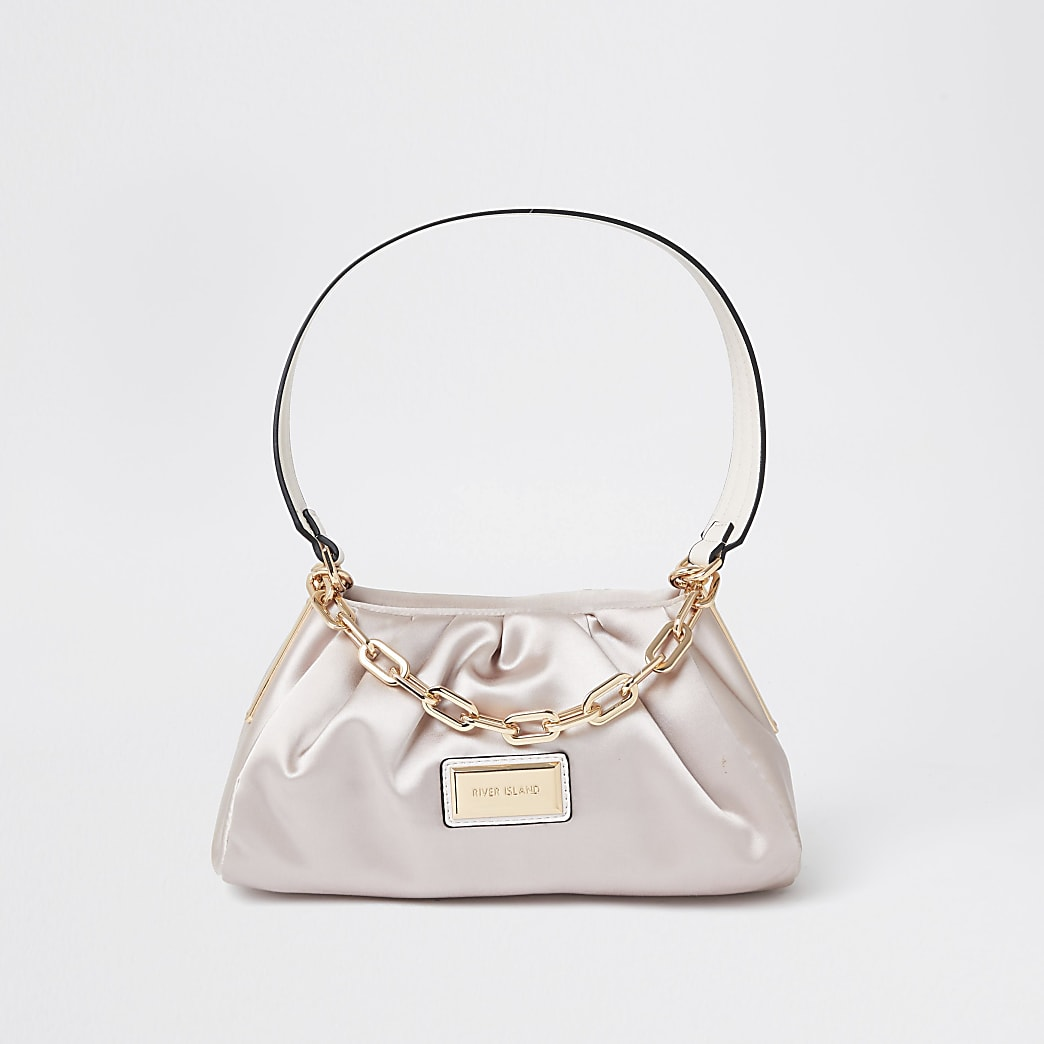 Pink ruched satin shoulder bag