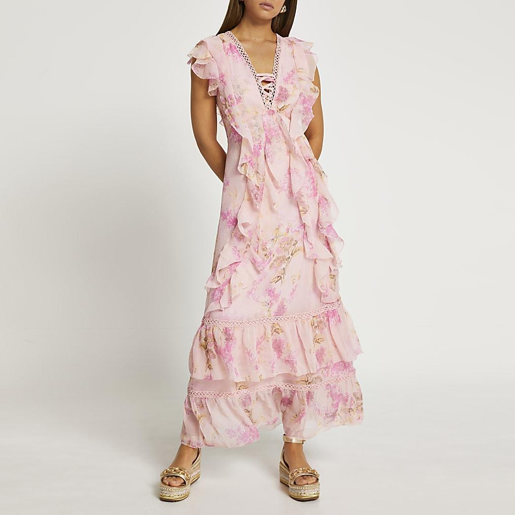 Pink ruffle cross front maxi dress