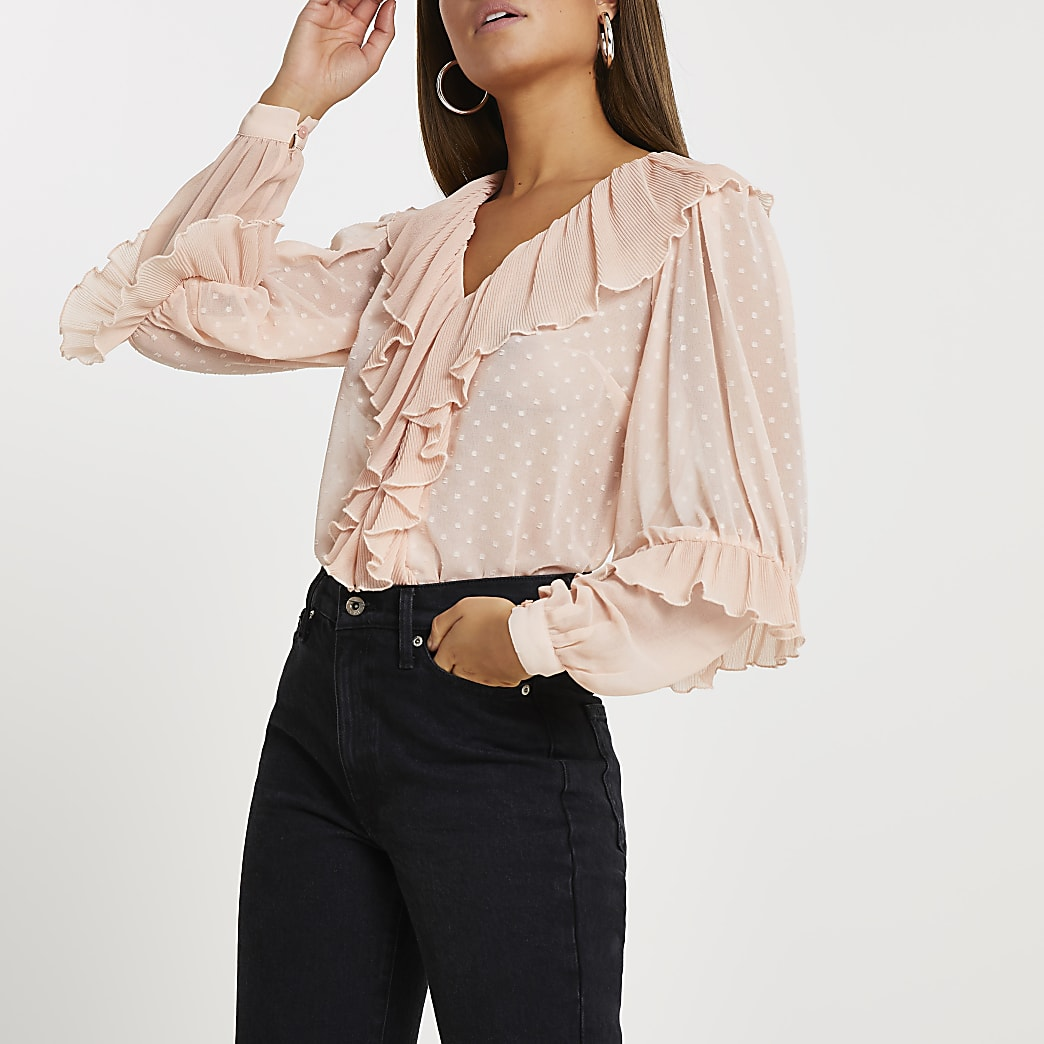 Pink ruffle v neck long sleeve blouse top