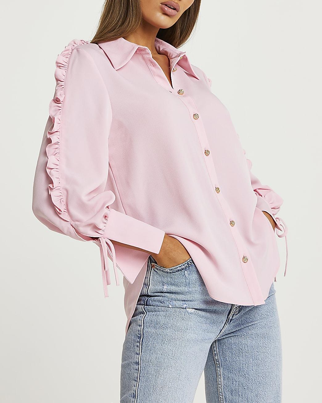 Pink ruffled shirt