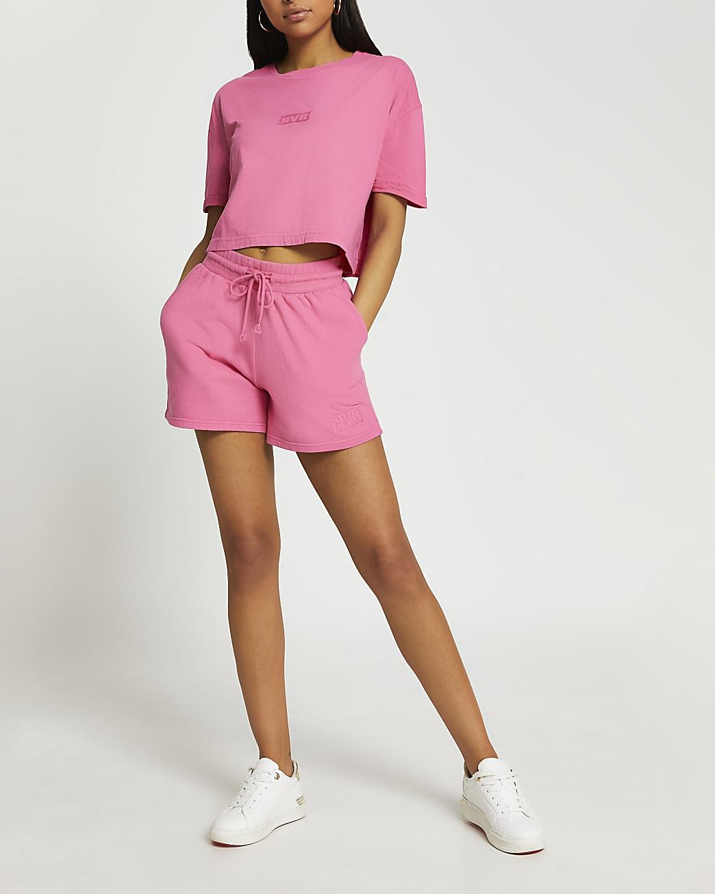 Pink RVR washed shorts