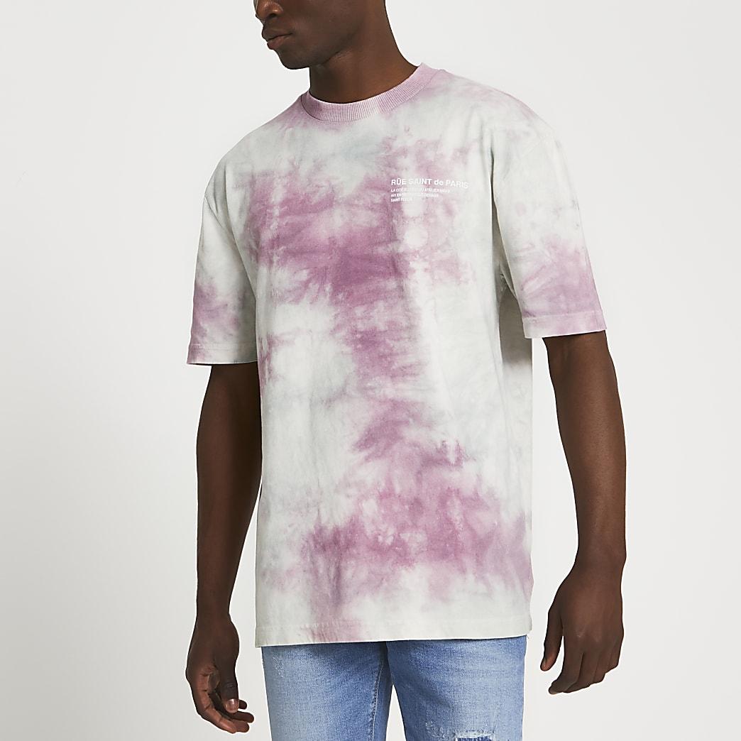Pink 'Saint De Paris' tie dye t-shirt