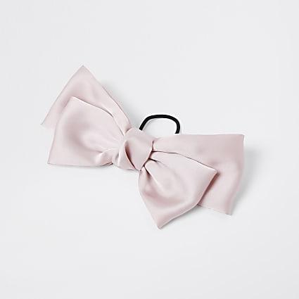 Pink satin bow hair clip