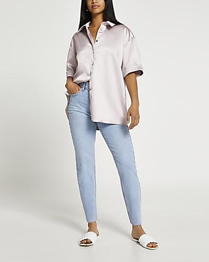 Pink satin button down short sleeve shirt