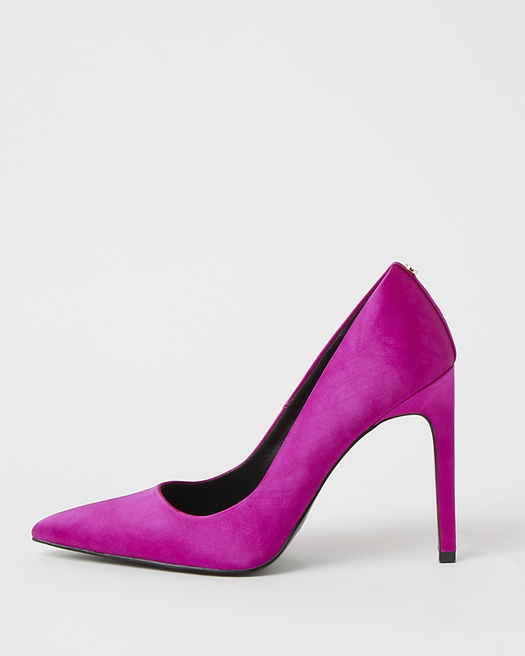 Pink satin heeled court shoes