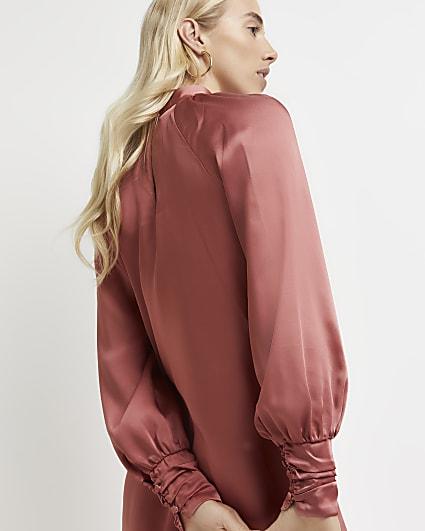 Pink satin high neck mini dress