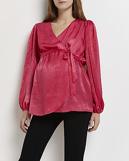 Pink satin maternity wrap blouse