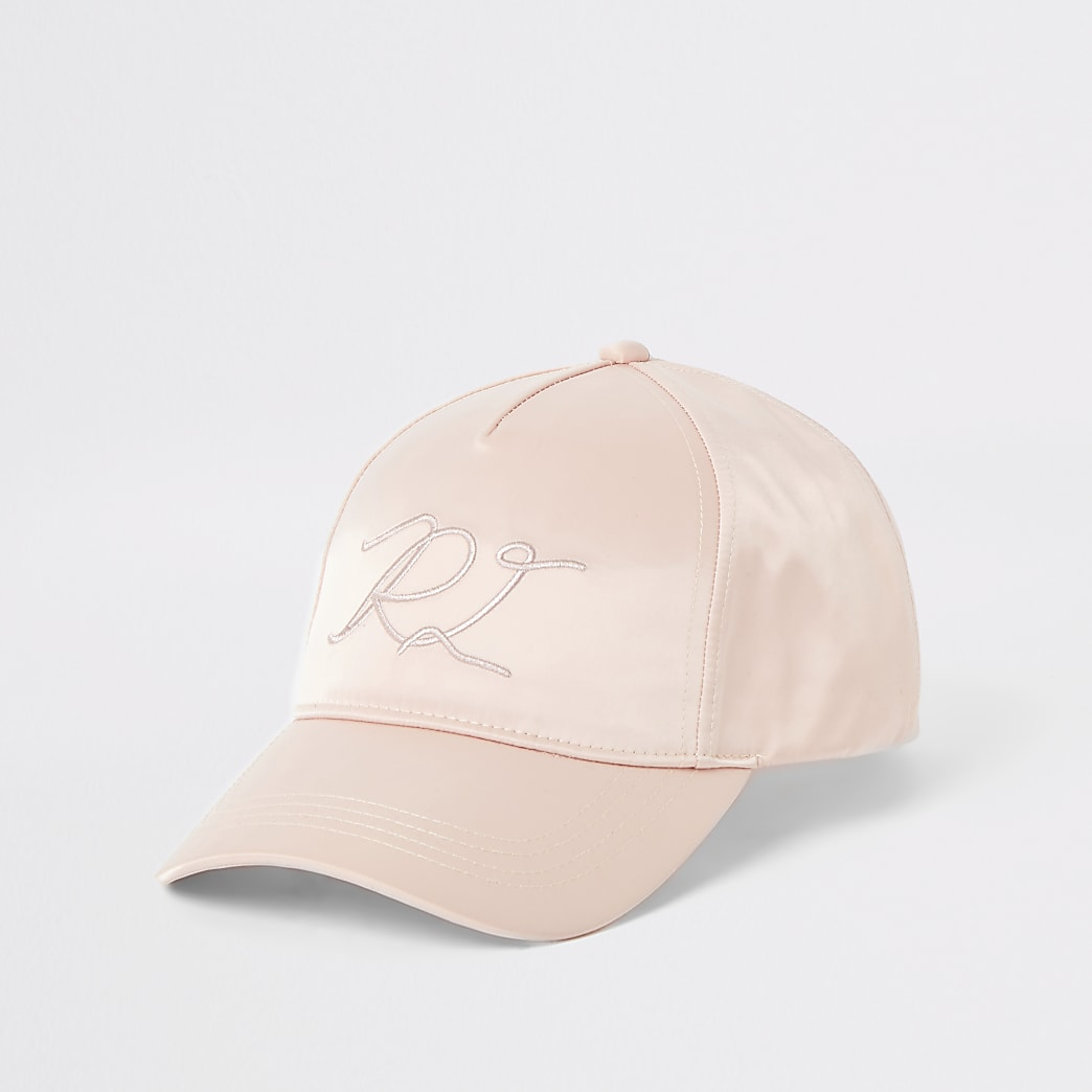 Pink satin RI embroidered hat