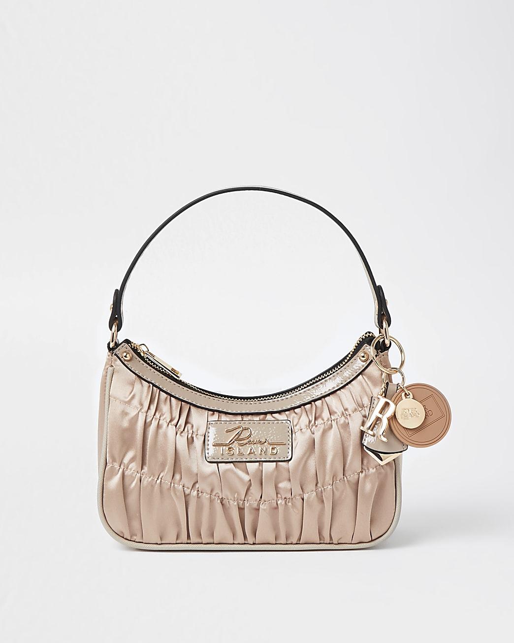 Pink satin ruched scoop shoulder bag