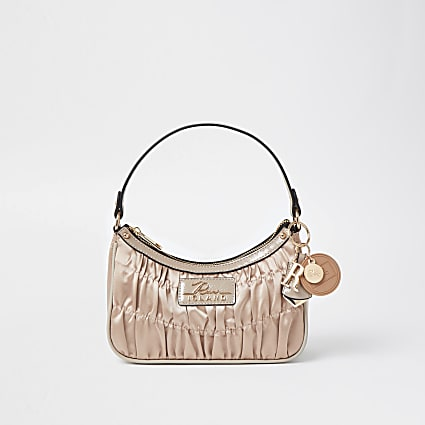 Pink satin ruched scoop shoulder bag