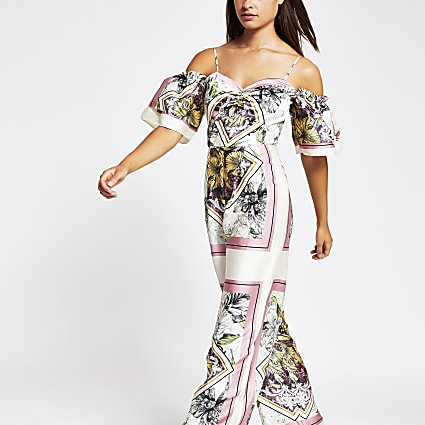Pink scarf print cold shoulder jumpsuit