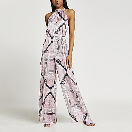Pink scarf print halter neck jumpsuit