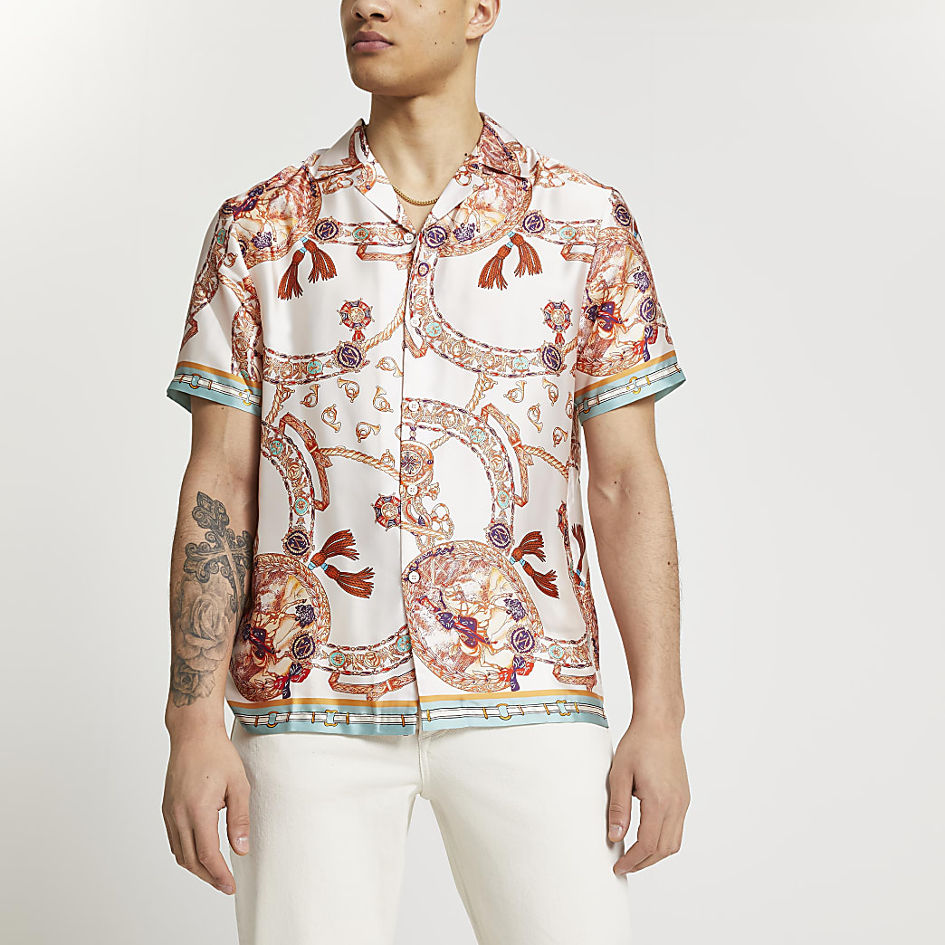 Pink scarf print revere shirt