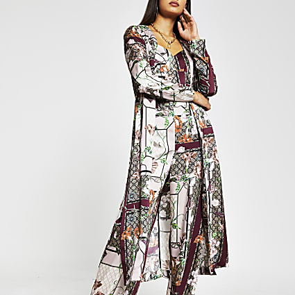 Pink scarf printed duster jacket