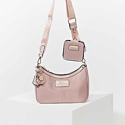 Pink scoop shoulder bag with mini pouchette