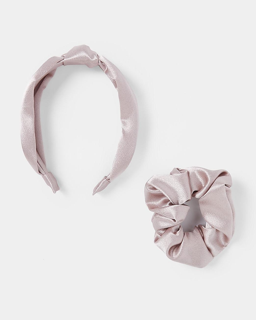 Pink scrunchie and alice headband