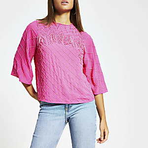 Pink sequin beaded tassel top