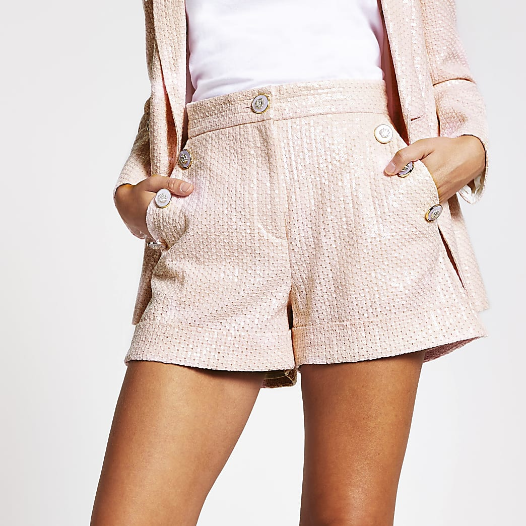 Pink sequin button front shorts