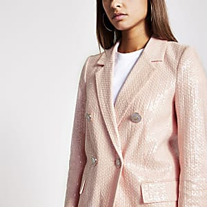 Roze double-breasted blazer met lovertjes