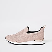 Pink sequin embellished trainers