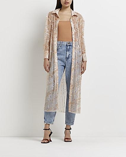 Pink sequin longline shirt