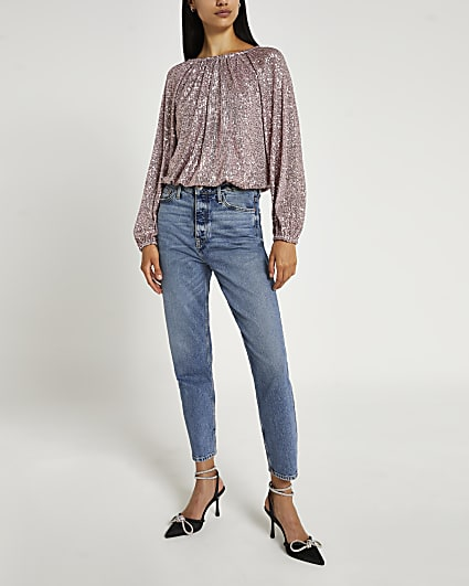Pink sequin pleated bubble hem top