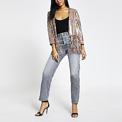 Pink sequin tassel cropped kimono jacket