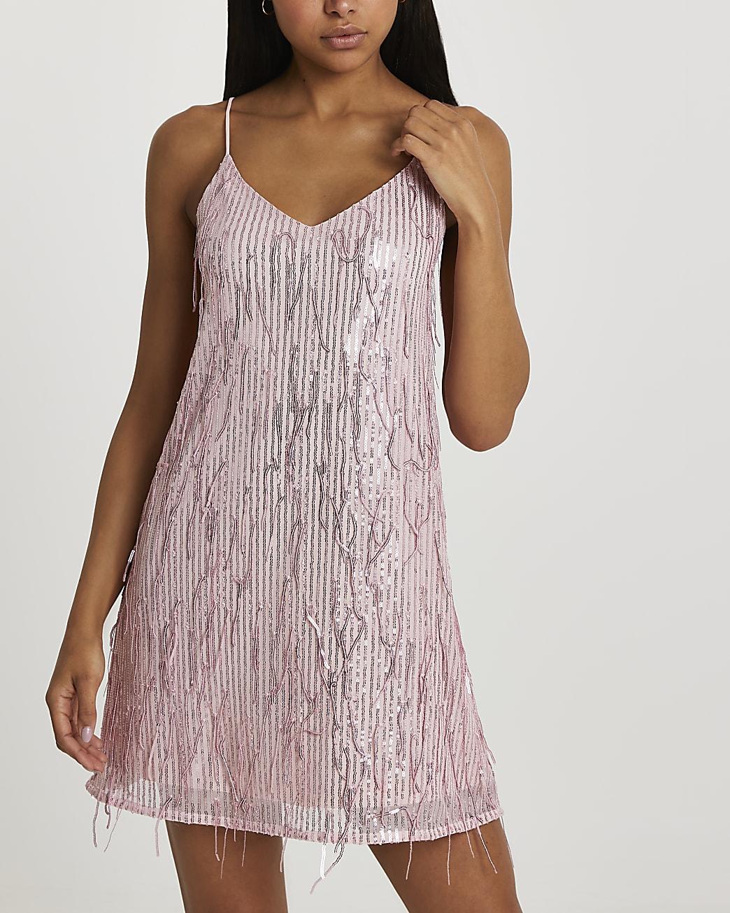 Pink sequin tassel slip dress