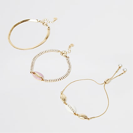 Pink shell 3 pack bracelet