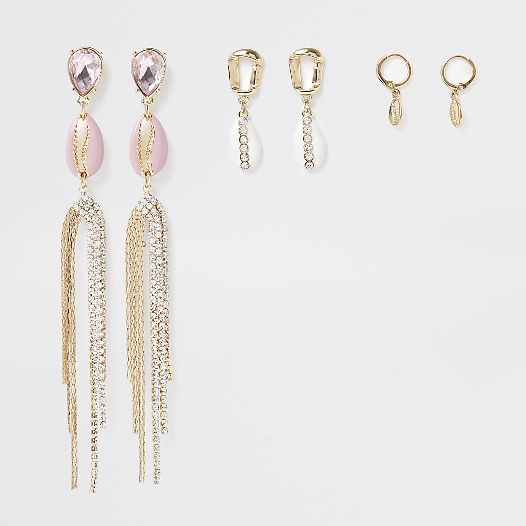 Pink shell earring 3 pack