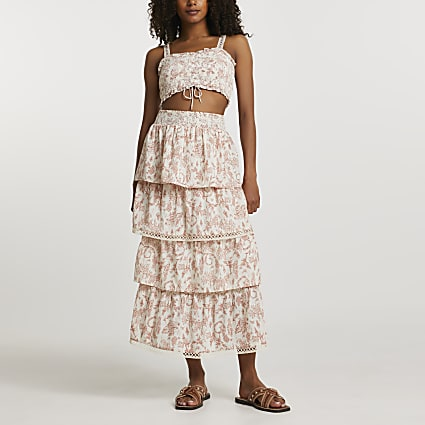 Pink shirred floral tiered maxi skirt