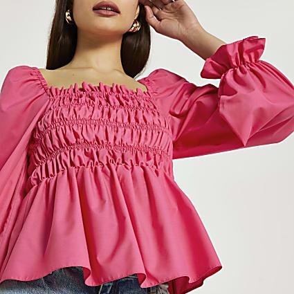 Pink shirred top
